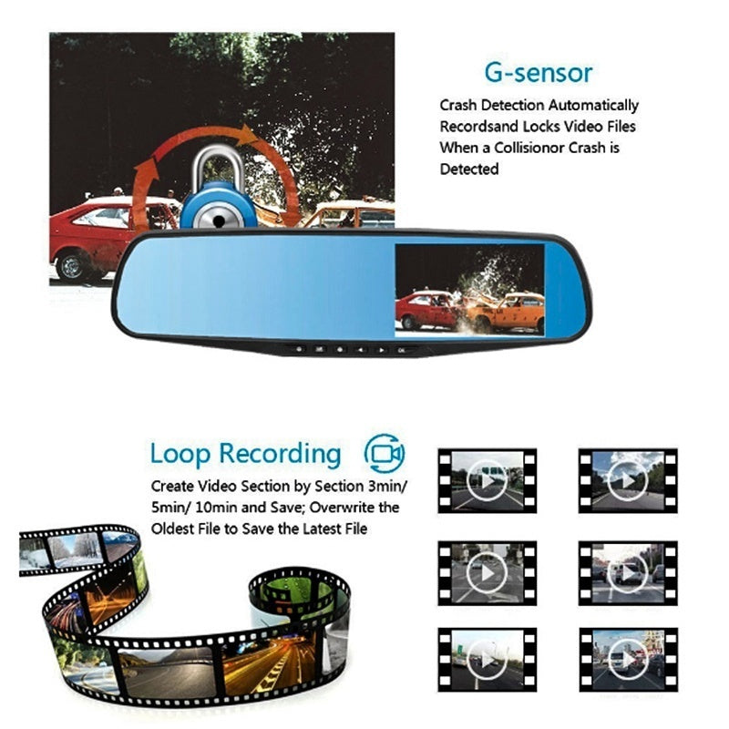 HD 1080P LCD Car DVR Video Driving Recorder Front & Rearview Mirror Dash Cam