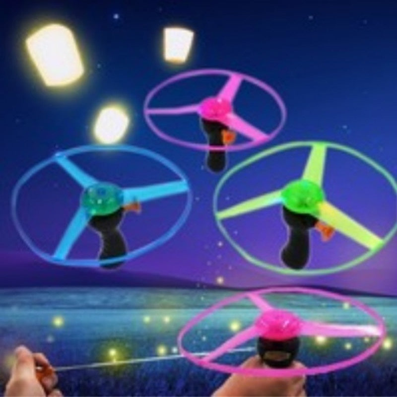 HOT Funny Spinning Flyer Luminous Flying UFO LED Light Handle Flash Flying Toys for Kids Outdoor Game Color Random