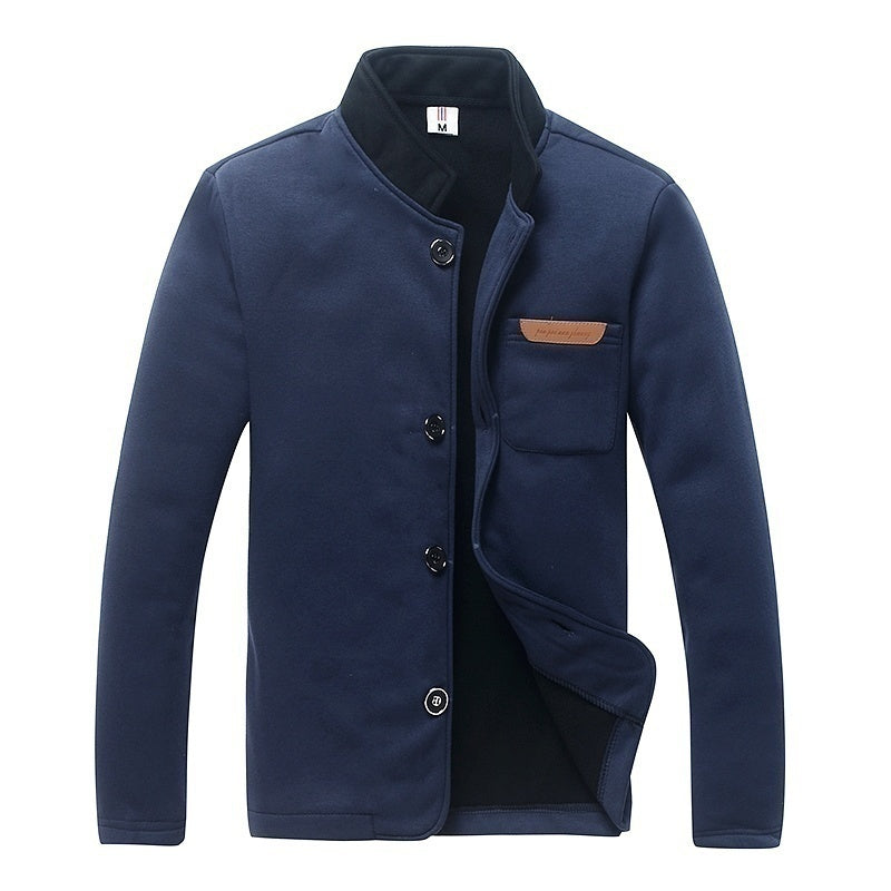 Europe and America Mens Fashion Slim Version of The Single Buckle Solid Long-sleeved Sweater Collar Jacket 4 Colors