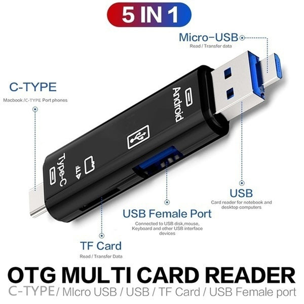 1 PC C Type 5-in-1 Card Reader C TYPE To TF USB 2.0 Multifunction Card Reader USB OTG C Type All In One Hub Extension