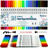 12/24pcs Colouring Pens, 0.4mm Felt Tip Pens Dual Tip Brush Art Markers Fineliner, Water Color Drawing Pens