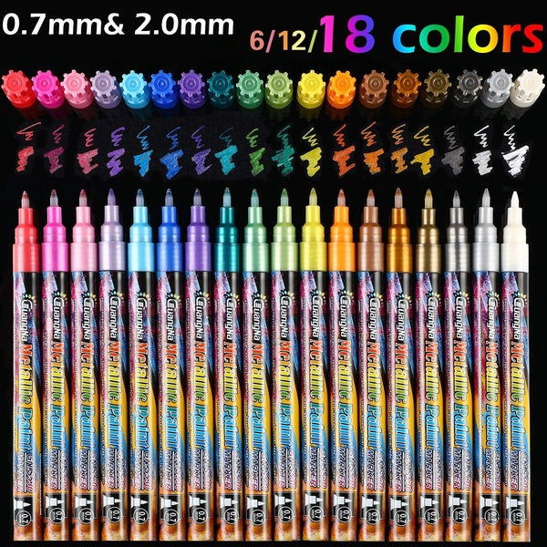 Acrylic Metallic Paint Marker Pens, 18/12/6 Colours Extra Fine Point Art Pen Set for Rock Painting Fabric Ceramic Wood Slice Glass Painting Mug Design DIY Arts Modelling & Crafts Explosion Box