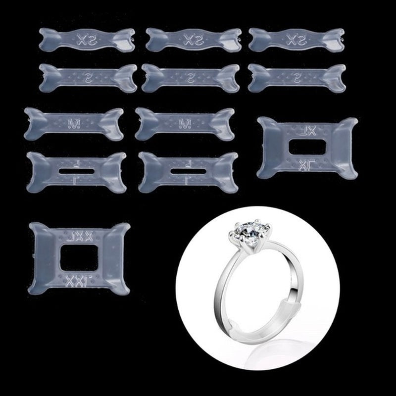 12Pcs/Set Invisible Clear Ring Size Adjuster Pads for Loose Ring Size Reducer Spacer Ring Guard Jewelry Tools