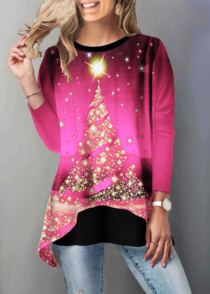 Women's Fashion Round Neck Christmas Tree Print Three Quarter Sleeve T Shirt