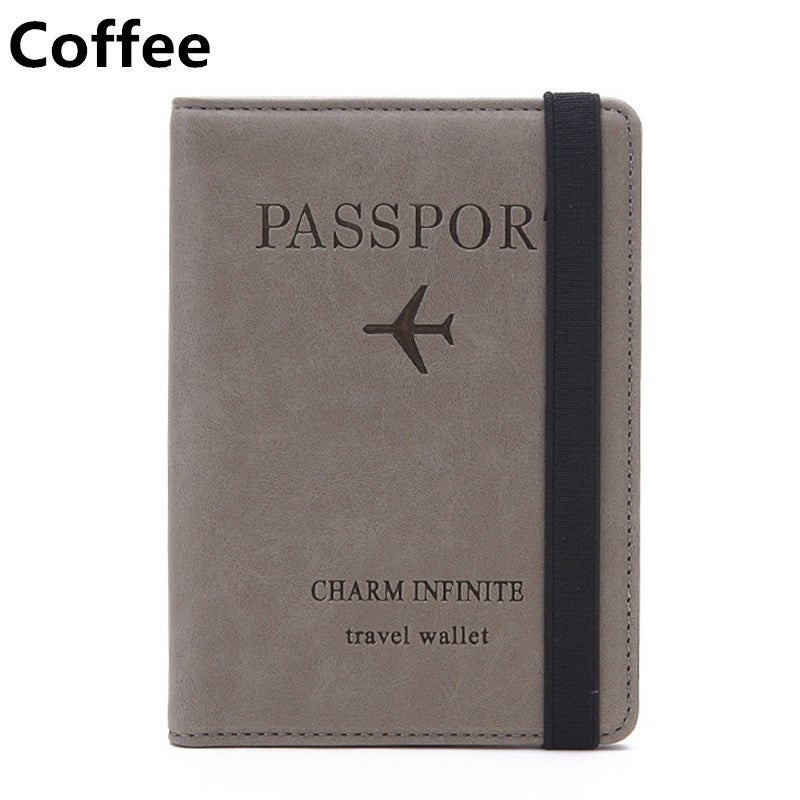 RFID Leather Passport Bag Multi-function Document Package Portable Travel Ultra-thin Passport Holder