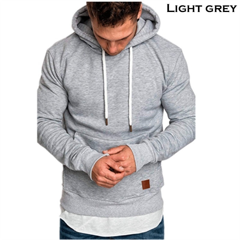 Men's Winter Outdoor Sports Hoodies Pure Color Long Sleeve Hooded Sweatshirts Pullover Sudaderas Plus Size S-5XL