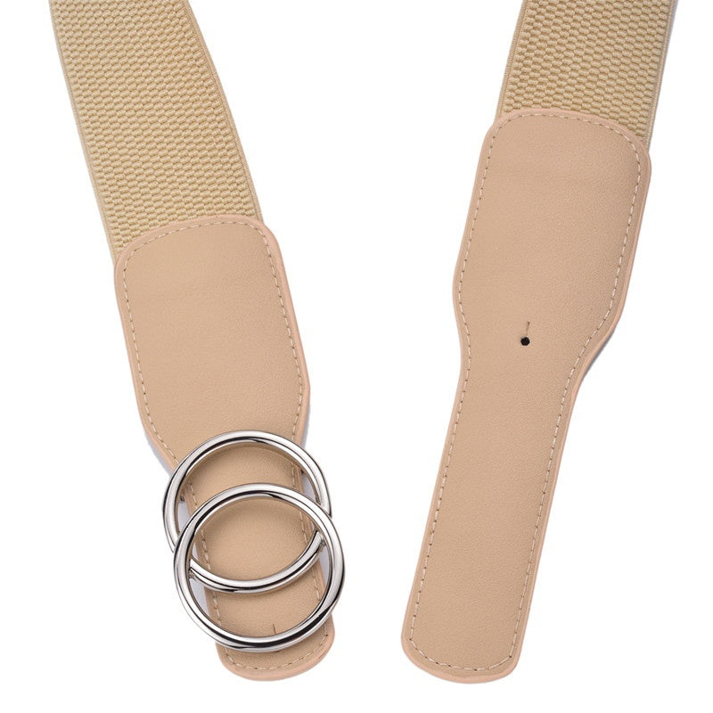 Beltox Women's Girdle Elastic Stretch Wide Waist Belts W Double Rings Buckle Cummerbunds Ladies