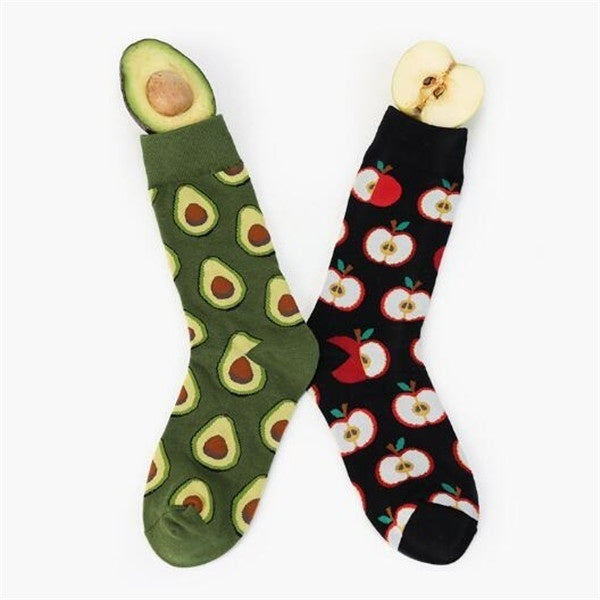 1 Pair Avocado Omelette Burger Sushi Apple Plant Fruit Food Socks Short Funny Cotton Socks