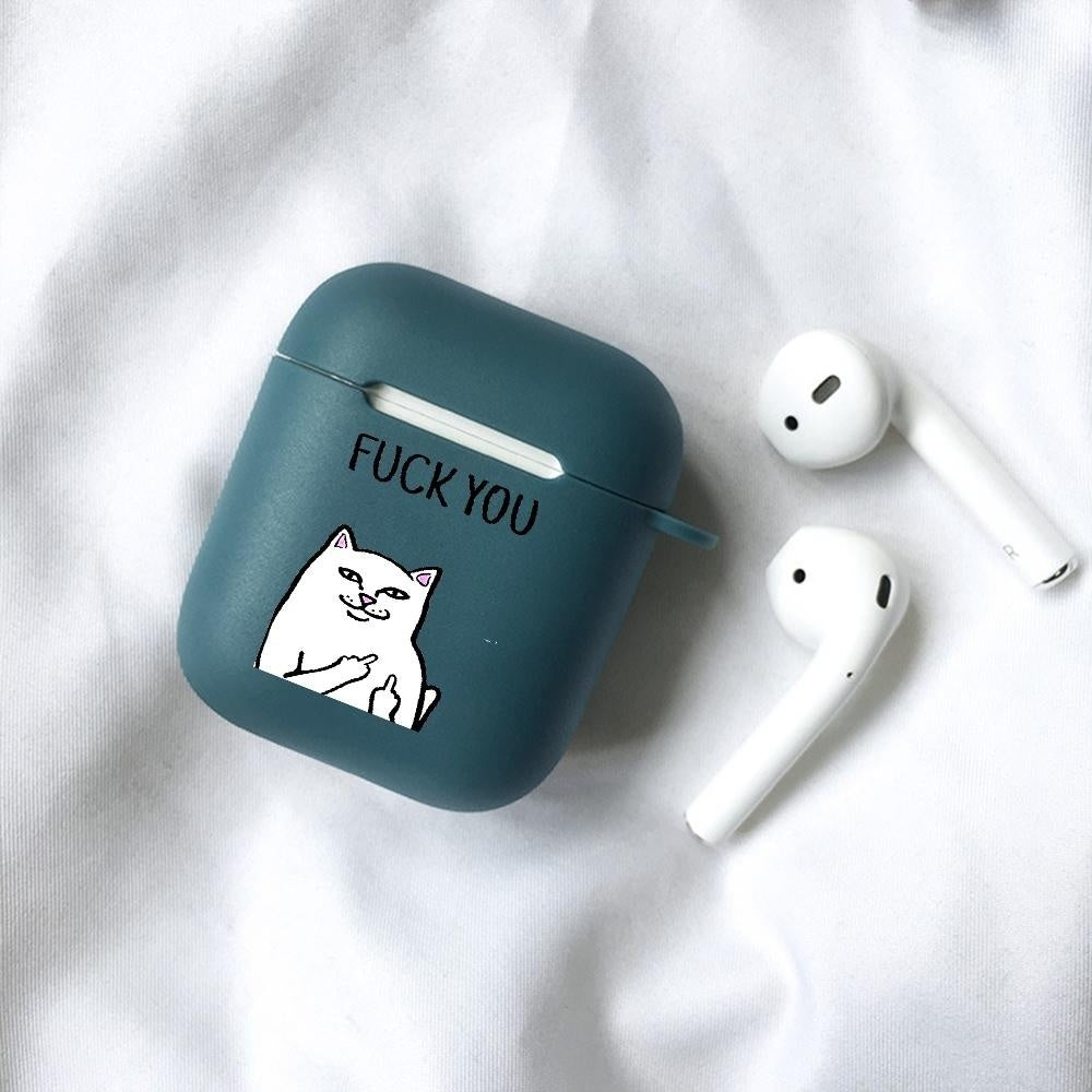 AirPods Cases Southside Serpents Transparent Cases Middle Finger Cat Six Colors Silicone AirPods Protective Case, Airpods Headset Sleeve ShockProof Box, Cover For Wireless Bluetooth Earphones