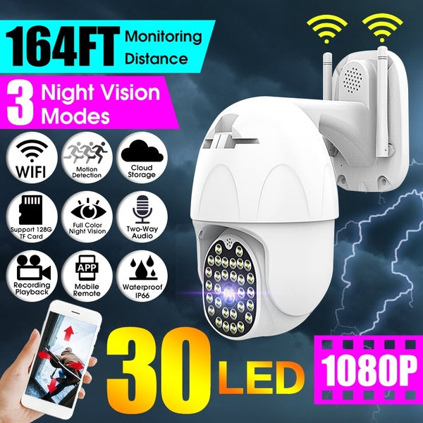 30 LEDs PTZ WiFi IP Camera 164FT Monitoring Distance  Support Two-Way Audio/Motion Detection/128GB TF Card