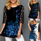 Womens Fashion Round Collar Button Personalized Shirts Blouse Floral Printed Lace Stitching Half Sleeve T-shirt Tops Plus Size
