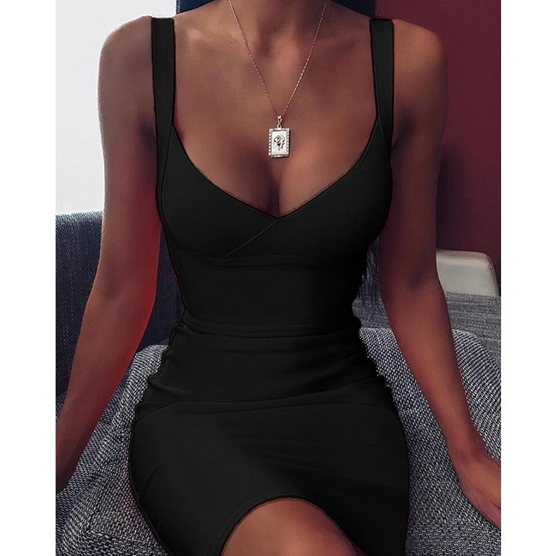 New Summer 5 Color Women Fashion Dress Sexy Deep V Neck Sleeveless Slim Fit Dresses Bodycon Dresses Evening Party Mini Dress Plus Size S-5XL