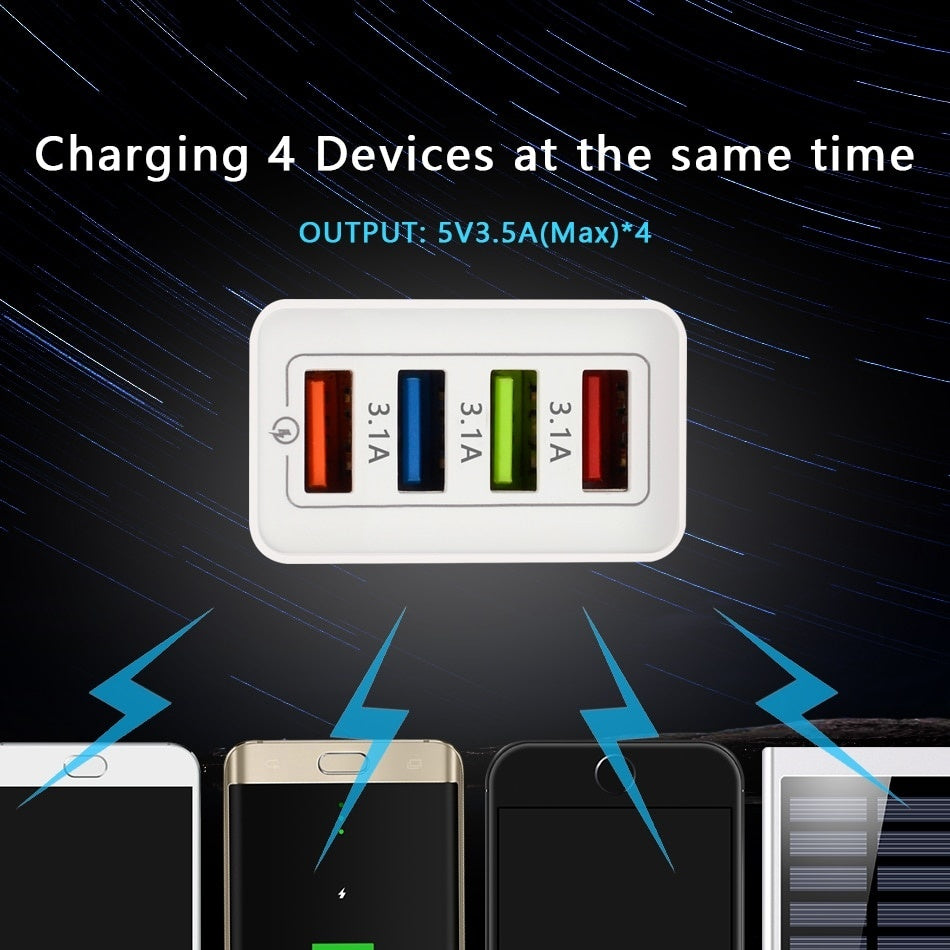 UsefulFast Charger  4-Ports USB Charger for Samsung iPhone Huawei Wall Mobile Phone 5V/3.5A Universal Adapter Fast Charging