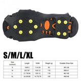 10-Stud S-XL Universal Ice No Slip Snow Shoe Spikes Grips Cleats Crampons