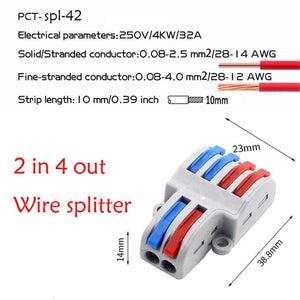 2/5pcs 2 in 4/6 out Wire Splitter Mini Fast Wire Connector Universal Wiring Cable Connector Push-in Conductor