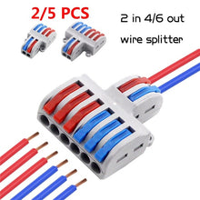 Load image into Gallery viewer, 2/5pcs 2 in 4/6 out Wire Splitter Mini Fast Wire Connector Universal Wiring Cable Connector Push-in Conductor