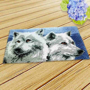 1Pc Creative 50 x 30cm Unfinished Wolf Latch Hook Rug Embroidery Kit For DIY Carpet Making