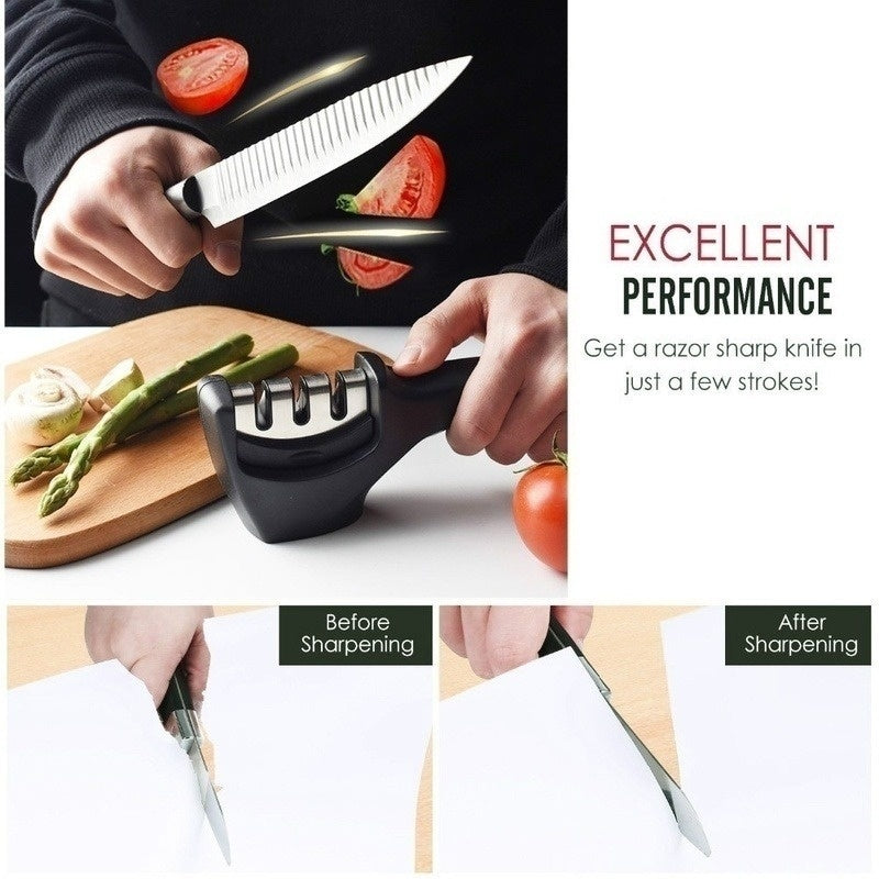 2019 New Design Professional Knife Sharpener Kitchen Whetstone Sharpening Stone Knives Grinder Tungsten Diamond Ceramic Three Stage Grindstone Household Tool