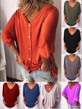 Load image into Gallery viewer, 2020 NEW FASHION Women Fashion V Neck Three Quarter Sleeve Loose Casual Pure Color Summer T Shirts