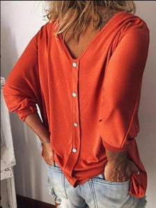 2020 NEW FASHION Women Fashion V Neck Three Quarter Sleeve Loose Casual Pure Color Summer T Shirts