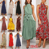 Women Polka Dot Print Dress New Summer Fashion Casual Sleeveless Halter Dresses Ladies Boho Vintage Beach Long Skirt Evening Party Clubwear
