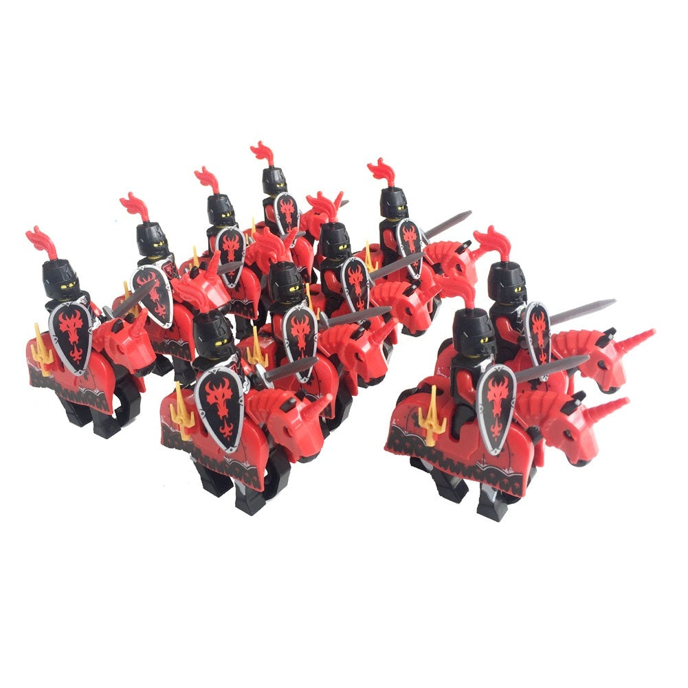10 sets Castle Knights Action Figure Medieval Age Royal Cavalryman Dragon A Cavalry Figure