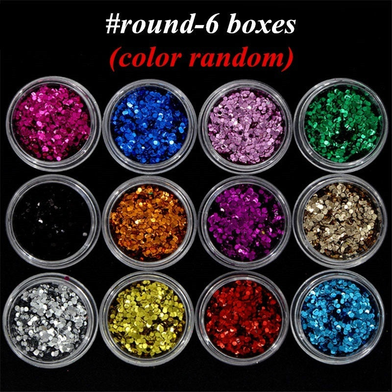 6 Pcs/lot Star Moon Heart Butterfly Round Triangle Nail Art Glitter Sequins Set Ultrathin Tip Twinkle DIY Slice Paillette Kit