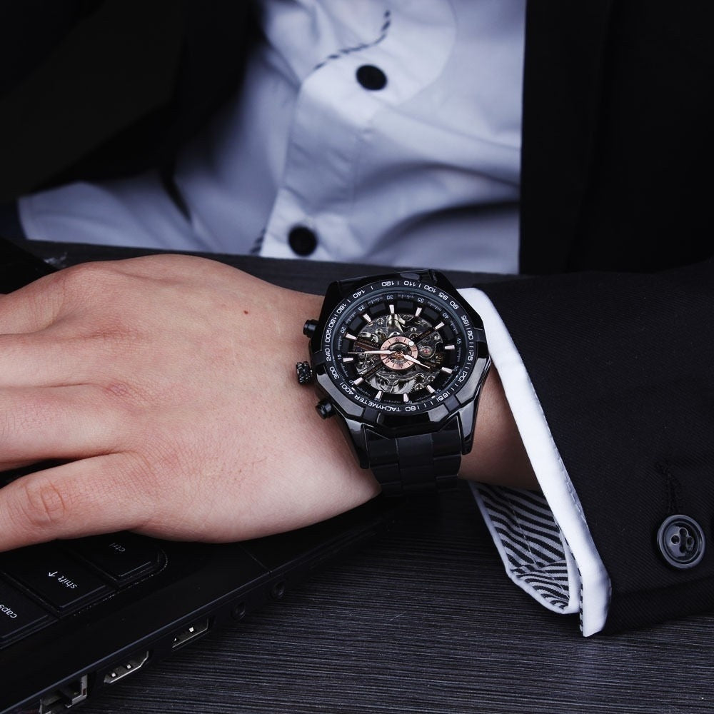 Mens Skeleton Mechanical Watch Automatic Casual Dress Wristwatch Reloj Montre Uhr with Gift Box