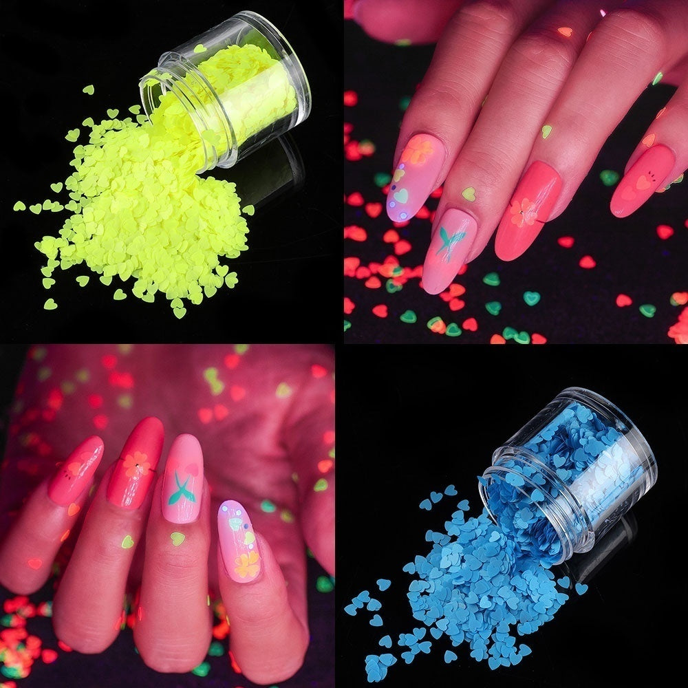 1Box New Glow In Dark Beauty Holographic Art Fluorescence Manicure Decor Luminous Nail Sequins Heart Shaped Flakes