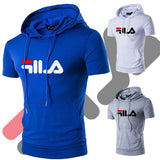 2020 new summer men's hooded large pockets, pure color large size short sleeve T-shirt