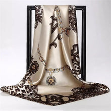 Load image into Gallery viewer, Silk scarf 90cm x 90cm square scarf leopard print chain scarf women's headscarf