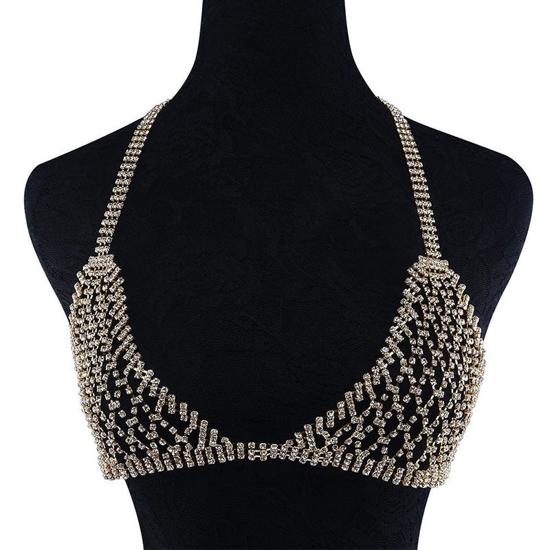 Sexy Crystal Bling Chains Bralette Underwear Set Fashion Rhinestone Body Jewelry Chest Chain for Women