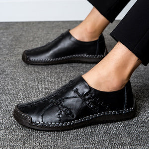Leather Shoes for Men Casual Handmade Loafers Driving Shoes Leisure Oxfords Business Shoes Plus Size EU38-48