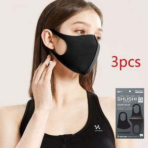 Respirator for men and women: dustproof, ventilative, haze proof, warm keeping, black personalized polyurethane, Korean version, with sponge for cleaning