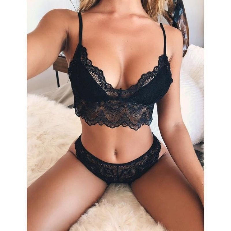 Women Sexy Lingerie Set Two Pieces Bikini Set Lace Push Up Bra Set Briefs/Panties&Bra Underwear