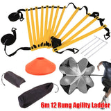 Running Power Exercise Fitness Equipment 6m 12 Rung Agility Ladder Resistance Parachute Agility Training Set For Soccer Football Speed