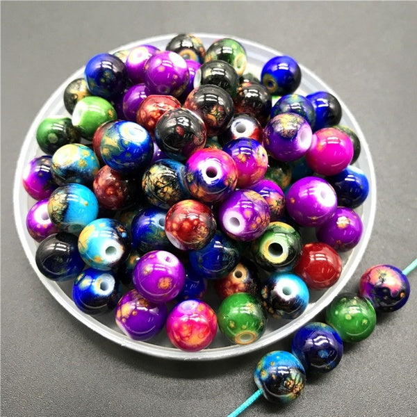 6mm-10mm Double Glass Beads Round Loose Beads DIY Bracelet Earrings Charms Necklace Beads For Jewelry Making #MISS05