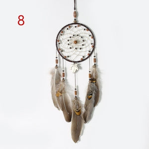 Handmade Dream Catcher Rings Pendant Feathers Wind Chimes Home Wall Hanging Decorations Ornament