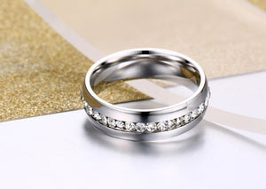 His and Hers Stainless Steel Princess Wedding Ring Set and Eternity Wedding Band