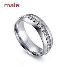 Load image into Gallery viewer, His and Hers Stainless Steel Princess Wedding Ring Set and Eternity Wedding Band