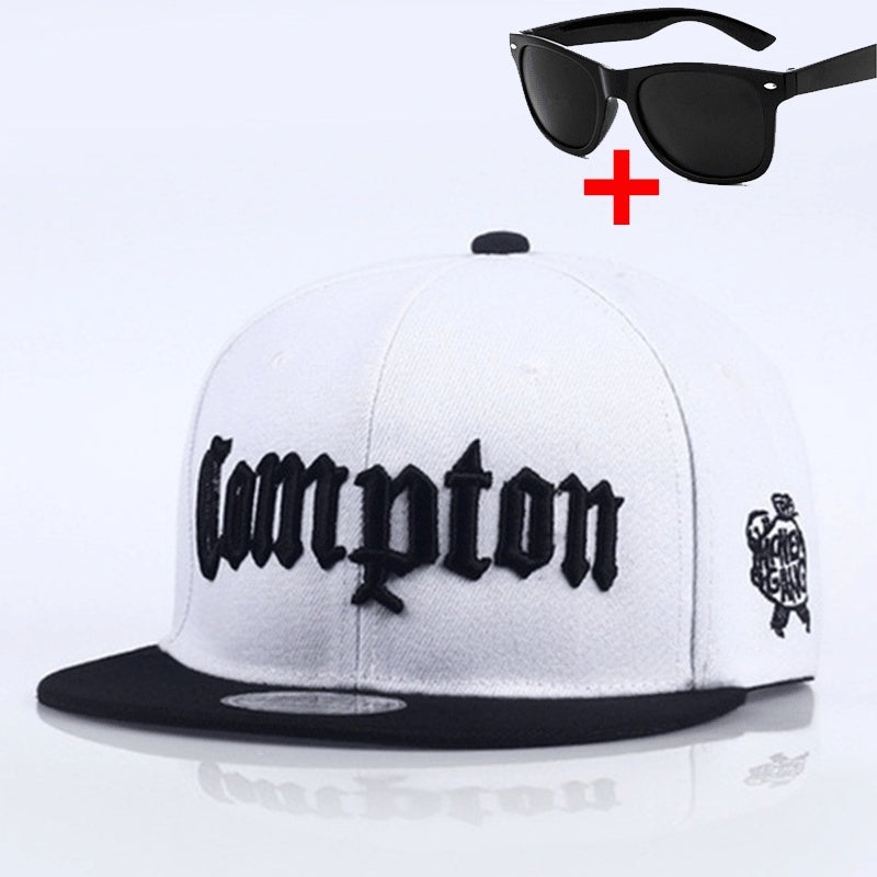 Men's Compton baseball cap hip hop snapback cap cotton trucker cap summer outdoor sun hat men and women fashion hat diy clothing accessories black adjustable