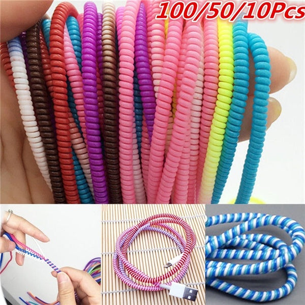100/50/10Pcs Spiral Phone USB Data Charging Cable Wire Cord Wrap Protector DIY Winder