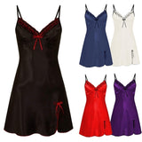 2020 Deep V Neck Women Satin Nightgown Sexy Lace Sleepwear Strap Spaghetti Ladies Silk Nightwear Sleep Wear Night Gown Lingerie Dress