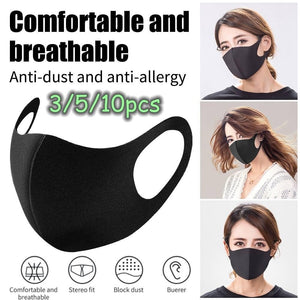 (1/3/5/10Pcs) 3 Layers Anti-Dust Mask Dustproof Face Mask Washable Facial Mask Protect Against Fashion Black Mask