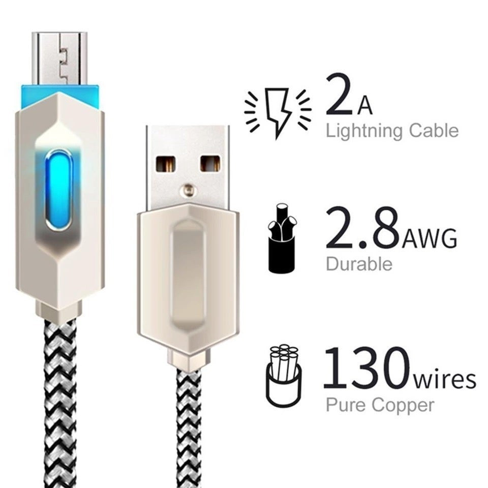 LED Indicator USB Type C Cable & Micro USB & Lightning USB Cable Adapter Nylon Braided Data Sync Charger Cable