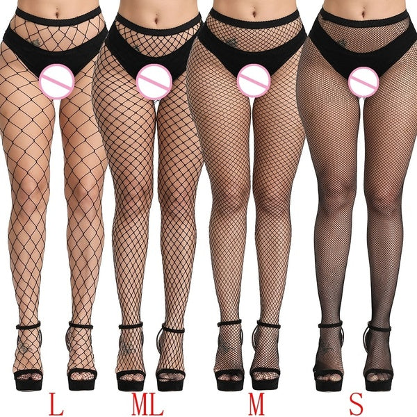 Elastic Fishnet Stockings for Women Hollow Out Pantyhose Mesh Black Long Tights Stocking