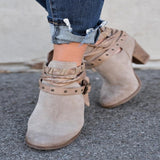 3 Colors Women Round Toe Ankle Boots Casual Vintage Suede Buckle Boots Hollow Out Thick Heel Shoes 34-43