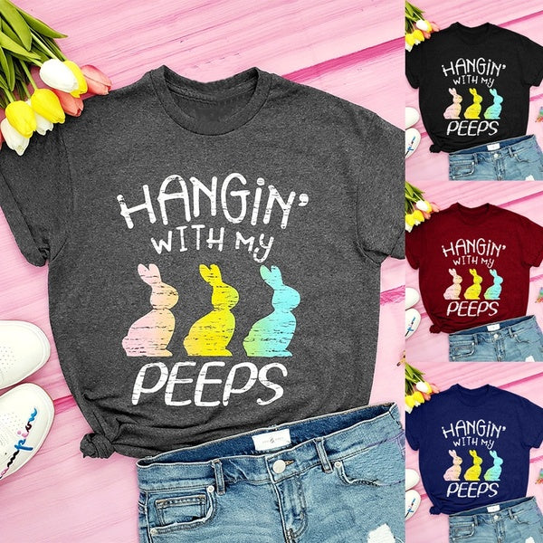 Women Fsahion Casual HANGiN' with My PEEPS Shirt Easter Shirt Bunny Tee Shirts Plus Size