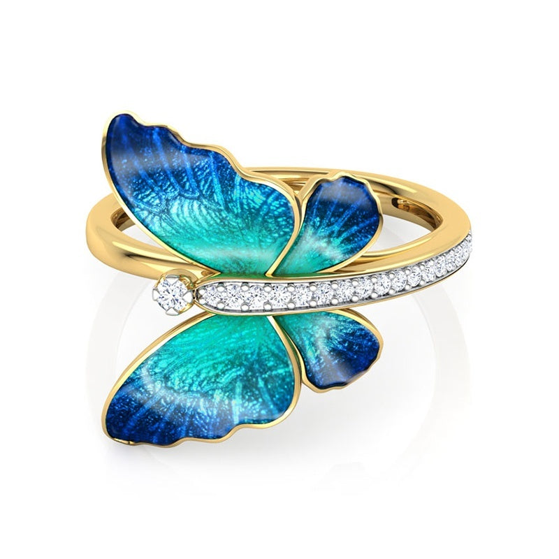 US European Delicate dazzling women's fashion 14K yellow gold epoxy blue butterfly ring natural white sapphire diamond ring ladies engagement wedding ring anniversary gift princess ring jewelry size US5-11