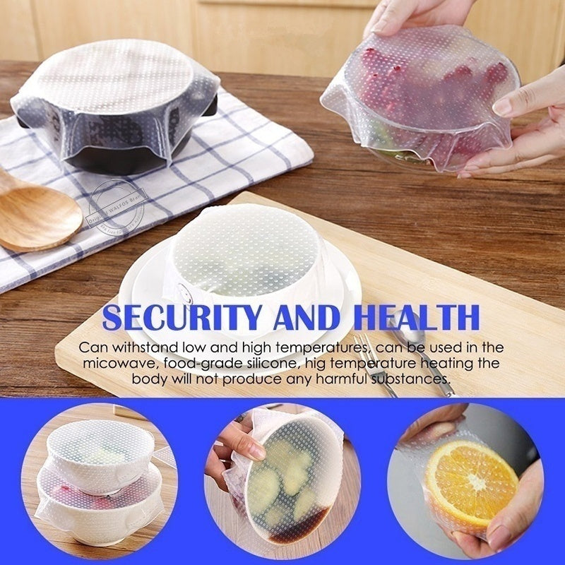 Reusable Silicone Food Wraps Seal Cover Stretch Fresh Keeping Wrap Kitchen Creative Tools